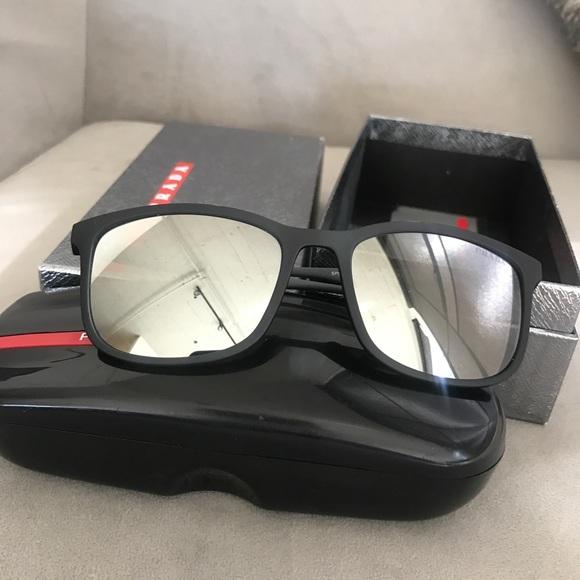 3d3f8011a68 Prada Sport SPS 01T DG0 Black Mirrored Sunnies